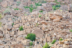 Aerial view of a Dogon village, Mali (Africa). The principal Dogon area is bisected by the Bandiagara Escarpment Royalty Free Stock Photography