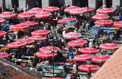 Aerial view of Dolac market covered with parasols in Zagreb Stock Photos