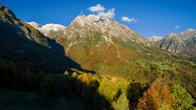 Aerial view of the Dolomites mountains i. N autumn Stock Image