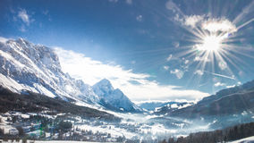 Aerial view of the Dolomites mountains i. N wintern Royalty Free Stock Images