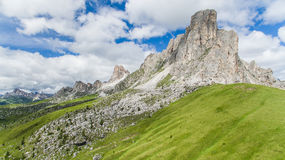 Aerial view of the Dolomites mountains, Italy. Aerial view of the Dolomites mountains in summet Royalty Free Stock Photo