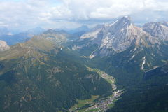 Aerial view in Dolomites Royalty Free Stock Photography