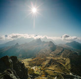 Aerial view of the Dolomites. From the top of the mountain Lagazuoi with the sun in the zenith Stock Images