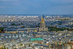 Aerial view of Dome des Invalids, Paris, France Royalty Free Stock Photos