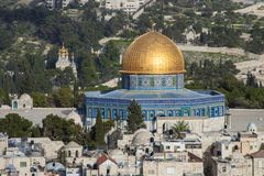 Israel - East Jerusalem - Aerial view of Dome of the Rock on Temple Mount and of Church of Mary Magdalene on Mount of Olives. Aerial view of Dome of the Rock on royalty free stock images