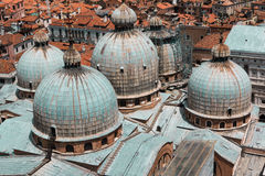 Aerial view of Domed Roof of Saint Marks Cathedral in Venice, It Royalty Free Stock Images