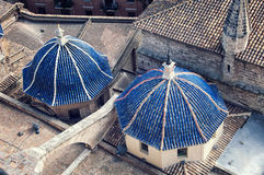 Aerial view domes of Cathedral in Valencia Stock Photography