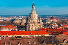 Aerial view of domes and roofs Dresden, Germany Stock Images