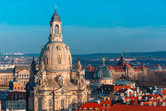 Aerial view of domes and roofs Dresden, Germany Royalty Free Stock Images