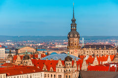 Aerial view of domes and roofs Dresden, Germany Royalty Free Stock Photo