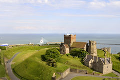 Aerial view with Dover Castle Royalty Free Stock Photography