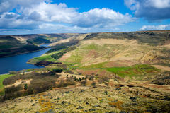 Aerial View of Dovestone Reservoir. Aerial image of Dovestone Reservoir, Greenfield, Peak District National Park Greater Manchester, England, United Kingdom Stock Photography