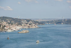 Aerial view down the Bosphorus River in Istanbul Royalty Free Stock Photos