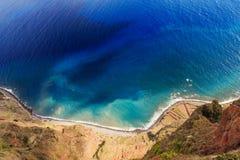 Aerial view down the coast Madeira stock photo