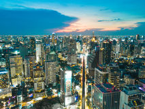 An aerial of view of downtown Bangkok, Thailand at nighttime Stock Photo