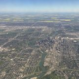 Aerial view of downtown Calgary Alberta Royalty Free Stock Images