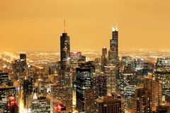 Aerial view of downtown Chicago on a foggy winter night stock photo