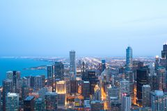 Aerial view of downtown Chicago at night. Elevated view of downtown Chicago, Illinois Stock Photography