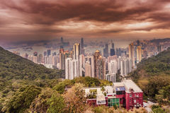 Aerial view at the downtown  city of Hong Kong Royalty Free Stock Photography