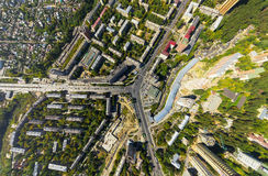 Aerial view of downtown. Crossroads, houses stock photo