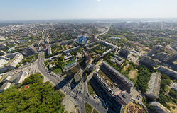 Aerial view of downtown. Crossroads, houses Royalty Free Stock Photo