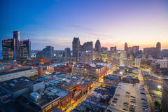 Aerial view of downtown Detroit at twilight. In Michigan USA Stock Images