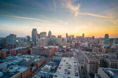 Aerial view of downtown Detroit at twilight. In Michigan USA Royalty Free Stock Image
