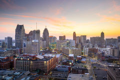 Aerial view of downtown Detroit at twilight. In Michigan USA royalty free stock photo