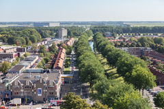 Aerial view downtown district Emmeloord, the Netherlands Royalty Free Stock Image