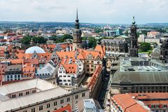 Aerial view of downtown Dresden royalty free stock photography