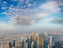Aerial view of Downtown Dubai buildings Royalty Free Stock Photos