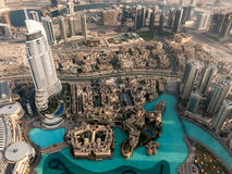 Aerial view of downtown Dubai from Burj Khalifa Royalty Free Stock Images