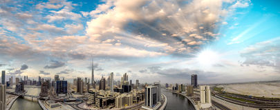 Aerial view of Downtown Dubai at dusk Stock Photo