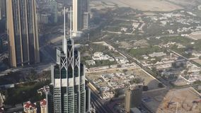 Aerial view of Downtown Dubai with skyscrapers. stock video