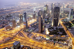 Aerial view of Downtown Dubai and skyscrapers from Burj Khalifa Royalty Free Stock Photography