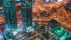 Aerial view of Downtown Dubai and skyscrapers from the tallest building in the world, Burj Khalifa. 4K Timelapse in Dubai, United Arab Emirates stock footage