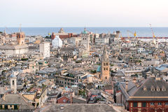Aerial view of the downtown of Genoa at the sunset Royalty Free Stock Images