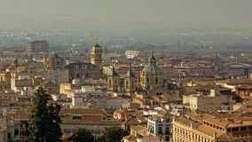 Aerial view of Granada with cathedral and San Juan de Dios church. Aerial view of downtown Granada with cathedral and San Juan de Dios church Royalty Free Stock Photo