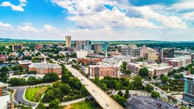 Aerial View of Downtown Greenville, South Carolina Skyline. Drone Aerial of the Downtown Greenville, South Carolina SC Skyline royalty free stock photo
