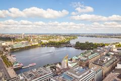 Aerial view to downtown of Hamburg royalty free stock images