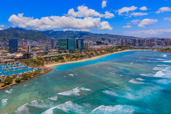 Aerial view of downtown Honolulu Hawaii. From a helicopter Royalty Free Stock Photo