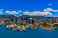 Aerial view of downtown Honolulu Hawaii. From a helicopter Stock Images