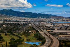 Aerial view of downtown Honolulu Hawaii. Aerial view of downtown Honolulu and Interstate H-1 in Hawaii from a helicopter Royalty Free Stock Photo