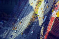 Aerial view of downtown intersection Stock Photos