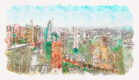 Aerial view of a Downtown LA. Aerial view of a Downtown Los Angeles watercolor painting vector illustration