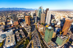 Aerial view of a Downtown LA Royalty Free Stock Images
