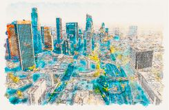 Aerial view of a Downtown LA at sunset royalty free stock images