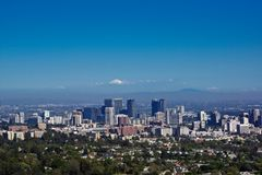 Aerial view of downtown los angeles famous skyline. Road trip along USA West Coast aerial view of downtown los angeles famous skyline royalty free stock image