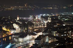 Aerial view of downtown Luzern at night, Switzerland Royalty Free Stock Photography