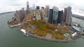 Aerial view of downtown Manhattan stock video footage